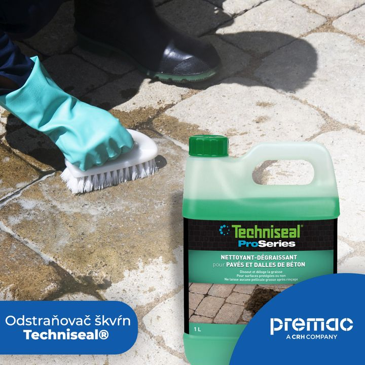 Čistenie betónovej dlažby nebolo nikdy jednoduchšie. Techniseal® Cleaner-Degreaser. Odstraňuje škvrny od motorového oleja a mast…