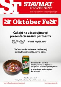ST Október FeST NITRA 🍻 Nezmeškajte zaujímavé akcie a prezentácie v rámci mesiaca október! 😊 Viac info na: https://www.stavmat.s…